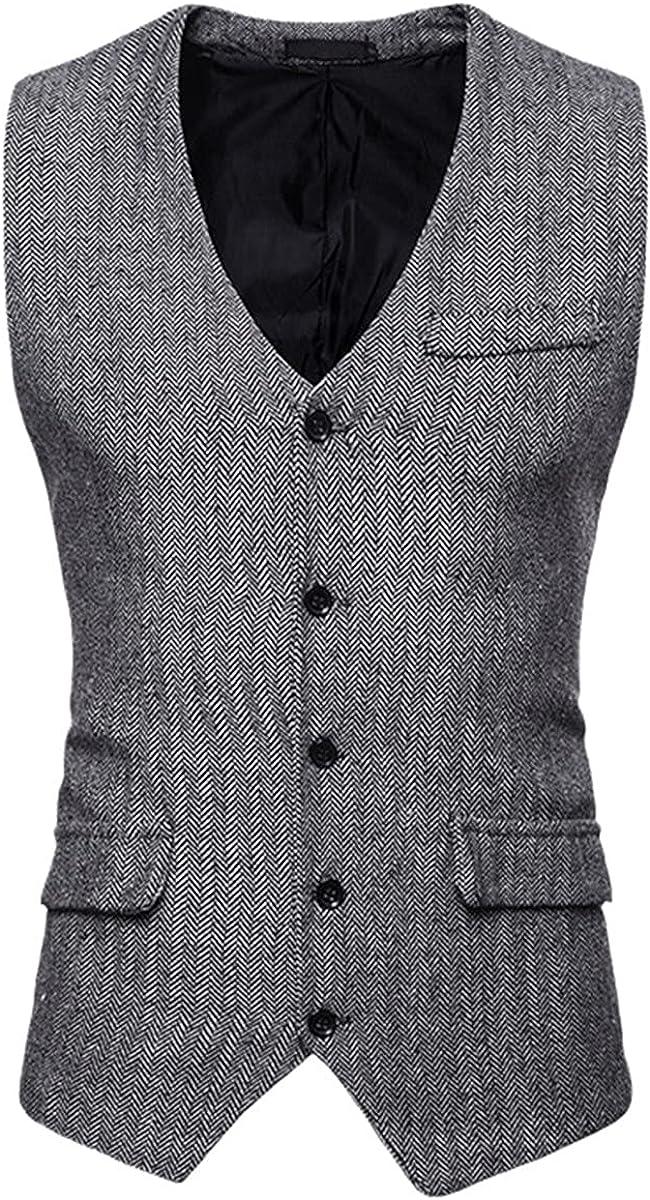 Herringbone Tweed Men's Vest Formal Wear Business Casual Slim Vest Retro British Gentleman Vest Vest