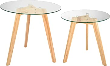 AdirHome Totally Natural Glass Top Tables in Two Sizes Fit Anywhere