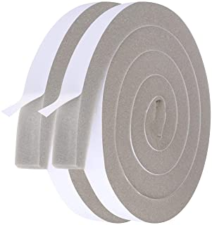 Air Conditioner Foam Insulating Strip-2 Rolls, 1 Inch Wide X 1 Inch Thick Total 13 Feet Long, High Resilience Window Foam Weather Stripping Seal Tape (6.5ft x 2 Rolls)