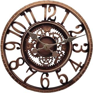 WOERD 12 Pouces Résine Thermomètre Et Hygromètre Horloge Résistante Aux Intempéries Horloge Grand Vintage Moderne Style Ré...