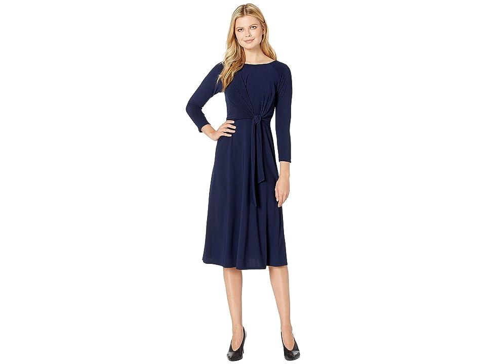 Taylor Bracelet Sleeve Front Knot Jersey Dress (Navy) Women
