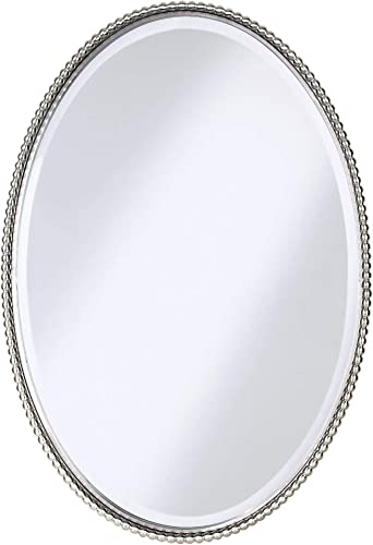 high quality Uttermost sale high quality 01102 Sherise Oval Brushed Nickel Beaded Wall Mirror outlet sale