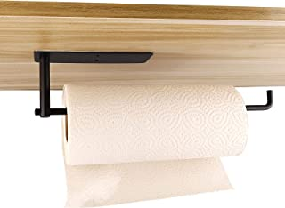 Paper Towel Holders Wall Mounted Paper Towel Holder Kitchen Cabinet Paper Holder Self Adhesive or Drilling (Black)