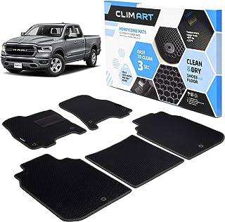 CLIM ART Honeycomb Custom Fit Floor Mats for Dodge Ram 1500 2019-2021 Crew Cab, 1 & 2 Row, Car Mats Floor Liner, All-Weather, Car Accessories for Man & Woman, Black/Black - FL011219006