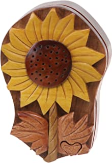 Handcrafted Wooden Sunflower Shape Secret Jewelry Puzzle Box