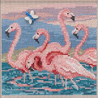 Flamingos Beaded Counted Cross Stitch Kit Mill Hill 2019 Buttons & Beads Spring MH141916