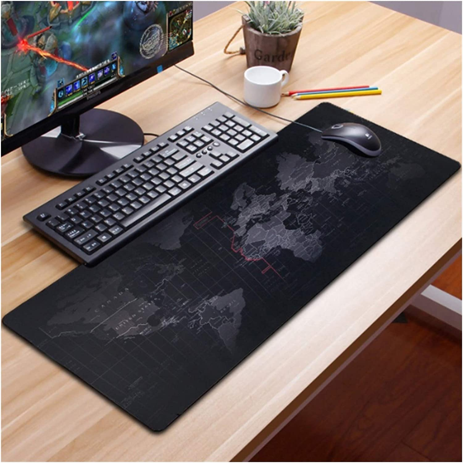 QWXZ Gaming Mouse pad Anti-Slip World Pattern Large Gaming Mouse Pad Keyboard Mat Desk Computer Accessory Fashion Office Computer Table Mouse Mat Large Mouse pad (Size : 70x30x0.2)