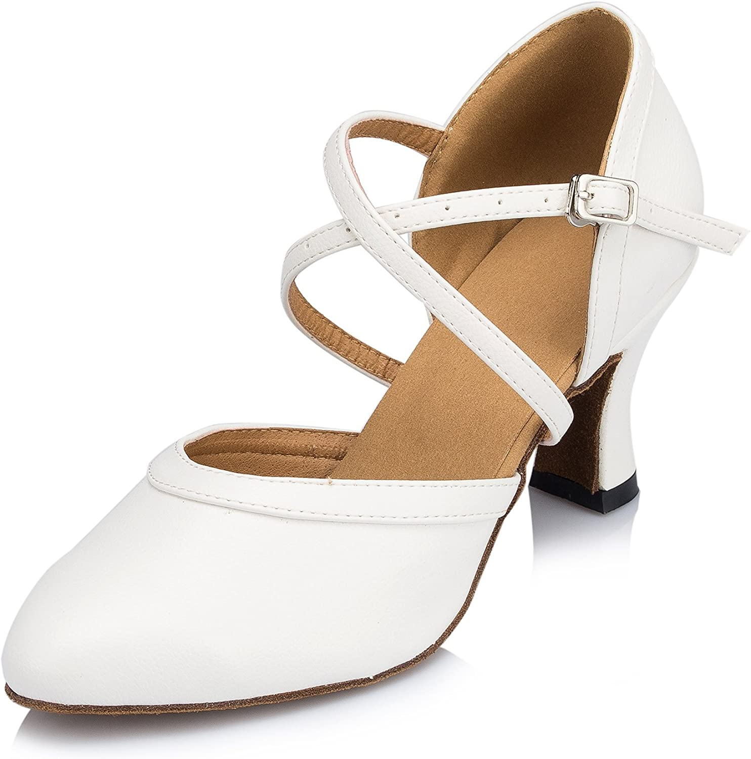 Honeystore Women's Synthetic Leather Closed-Toe Dance Shoes Criss Cross Ankle Strap