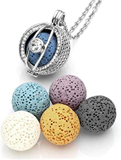 JOVIVI Silver Aromatherapy Essential Oil Diffuser Necklace CZ Crystal Evil Eye Locket Pendant + 6 Dyed Lava Stone Beads w/Box