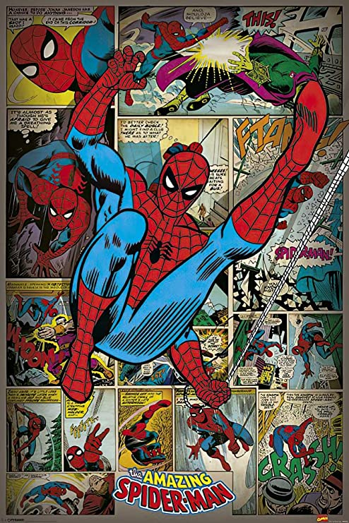Spiderman Comic Vintage Poster Style Framed Steel Picture Wall Display Retro