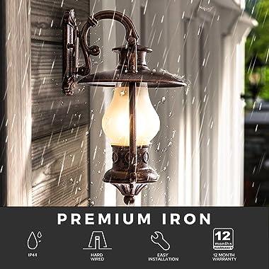 GZBtech Rustic Lantern Wall Sconce Outdoor, Waterproof Oil Rubbed Bronze Exterior Small Wall Lamp, 110V Vintage Kerosene Wall