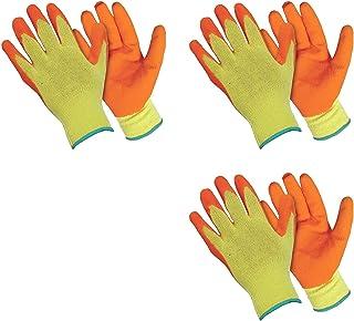 SAFEYURA® Reusable Heavy Duty Garden Hand Gloves Orange Coating - 3 Pairs