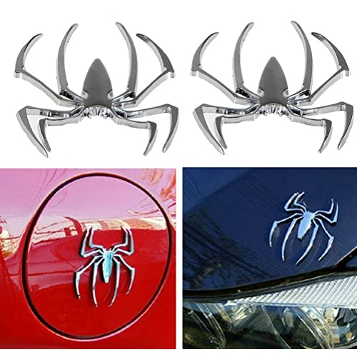 Silver Spider Emblems Chrome Badges Sticker for Can am Spyder RT ST RS elf Adhesive Badge Decal Superher Set of 2pcs