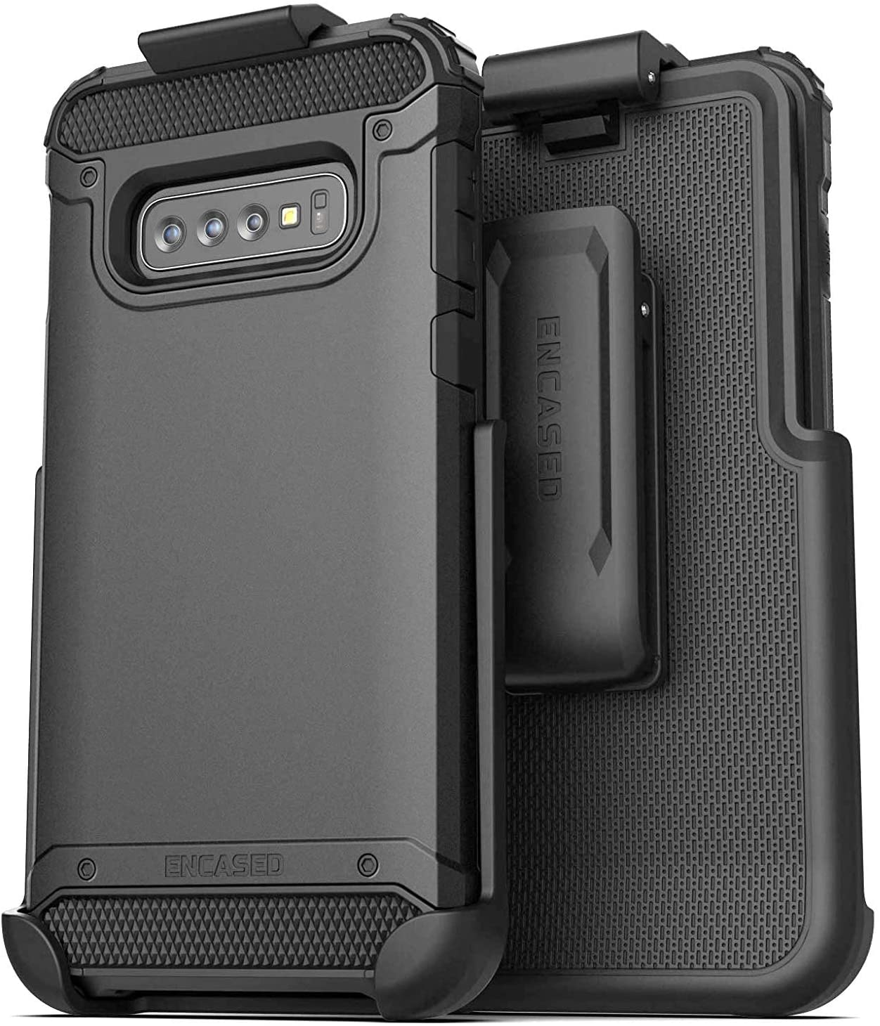 Encased Galaxy S10 Belt Clip Holster Case (2019 Scorpio Armor) Ultra Protective Tough Grip Cover with Holder for Samsung Galaxy S10 - Black