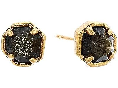 Kendra Scott Nola Stud Earrings (Vintage Gold Golden Obsidian) Earring