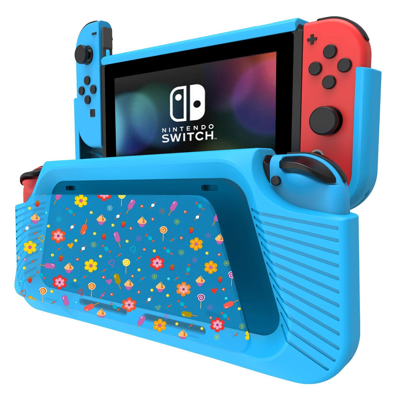 COODIO Funda Para Nintendo Switch, Funda Grip Deluxe Switch, Carcasa con Soporte / Correa de mano / DIY panel de pintura para Nintendo Switch, Azul Claro: Amazon.es: Videojuegos