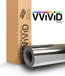 VViViD Gloss Chrome Silver Vinyl Wrap Adhesive Film 6 Inches x 60 Inches Roll Air Release DIY Decal Sheet