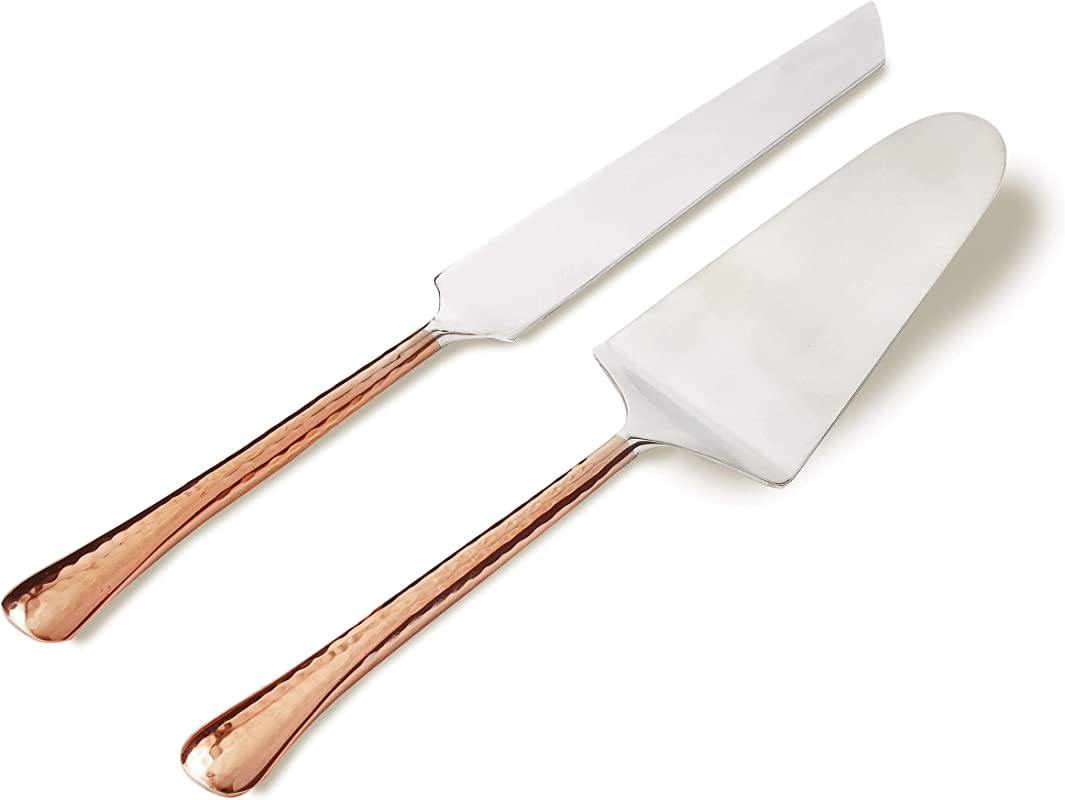 Elegance 72522 Copper Cake Server Set 11 Inch Silver