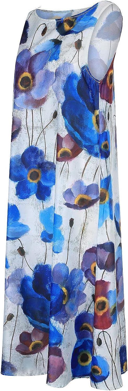 VISOEP Womens Sleeveless Maxi Dress Floral Print Trend Dresses with Pockets