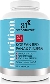 ArtNaturals Korean Red Panax Ginseng - (120 Capsules - 500mg) - Suppplements for Energy, Performance and Vitality - Softgel To Boost Mental and Physcal Vigor
