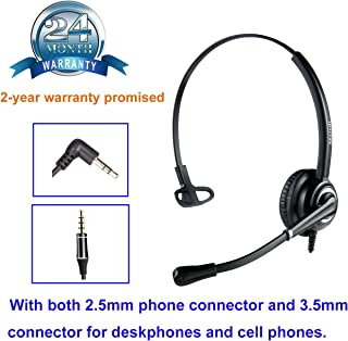 Phone Headset with 2.5mm Jack Noise Canceling Mic for Cisco Linksys SPA Polycom Grandstream Panasonic Zultys Gigaset and O...