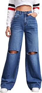 SOLY HUX Women's Casual Ripped High Waisted Jeans Wide Leg Denim Pants