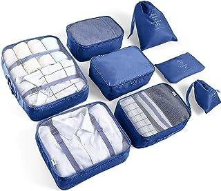 AMAYGA Researrangör, reseväsentligheter, väska 8 st, packkuber för resor, vattentät, polyesterförvaring, bagage, reseförva...