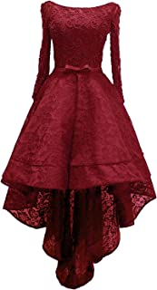 Women's Lace High Low Long Sleeve Prom Evening Dress Beads