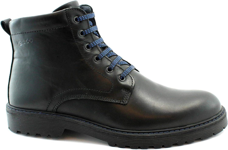 IGI & CO 4103300 Chaussures Noires pour Hommes Bottines Lacets Cuir zippé