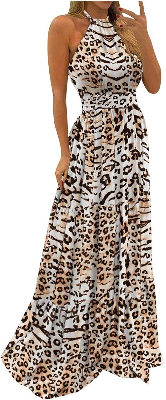 Women's Tank Maxi Dress,Casual Loose Long Dress Sleeveless Maxi Dresses O Neck Tie Dye Beach Boho Long Dress Sundress