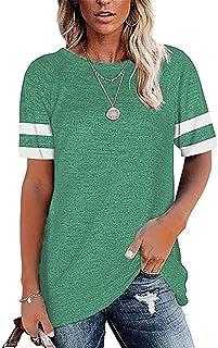 HAVANSIDY Women's Shirts Short Sleeve Baseball Tops Casual T Shirts