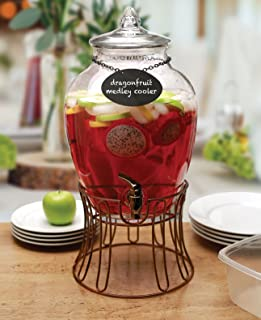 Circleware 69123 Glass Beverage Dispenser with Stand and Chalkboard Necklace, Fun Party Entertainment Home & Kitchen Glassware for Water Juice, Beer & Cold Drinks, Huge 2.7 gal, Empire Bronze