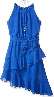 Amy Byer Girls' Big Sleeveless Dress with Asymmetrical Hem