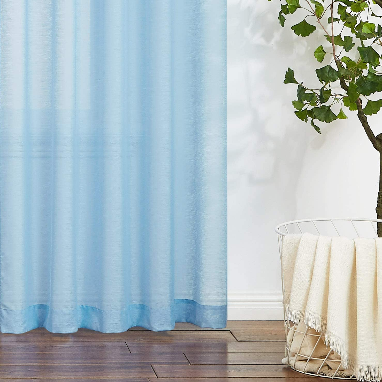 White Sheer Curtains 108 inches Long for Living Room Slub Textured Outdoor Curtains Semi-Sheer Window Drapers for Bedroom 52 w x 2Panels