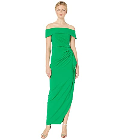 Vince Camuto Off the Shoulder Gown w/ Ruffled One Side (Green 1) Women