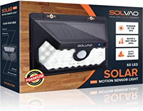 SOLVAO Solar Power Motion Sensor Light (2019 Model) - 60 LED Outdoor Security Lights for Step, Garage, and Patio - Brightest Solar Powered Flood Lights with Motion Detector