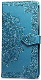 Oihxse Funda con Xiaomi Redmi 7A, Cuero PU Billetera Cierre Magnético Flip Libro Folio Tapa Carcasa Relieve Soporte Plegable Ranuras para Tarjetas Protección Caso(Azul)