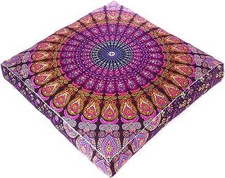 "EYES OF INDIA - 35"" Purple Pink Large Oversized Mandala Square Colorful Floor Pillow Cover Pouf Meditation Cushion Seating..."