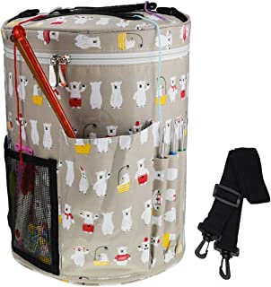 Large Capactity Lightweight/Portable Yarn Storage Knitting Tote Organizer Bag with Shoulder Strap Yarn Bags Have Pocket for Crochet Hooks,Knitting Needles & Accessories,Prevent Yarn Tangle