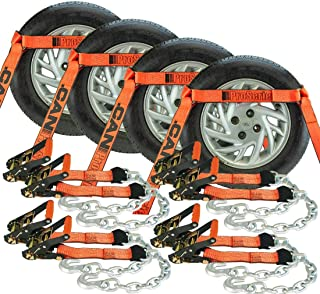 Vulcan ProSeries Side Rail Auto Tie Down w/Chain Anchors - 3300 lbs. SWL, 4 Pack