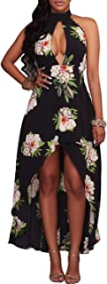 Best navy floral high low dress with open back Reviews
