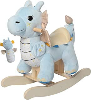 labebe - Baby Rocking Horse, Child Blue Winged Dragon Rocker, Toddler Ride on Toys for Kid 1-3 Years Old, Wooden Rocking C...
