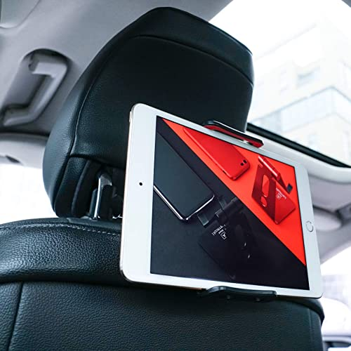 """Car Tablet Holder, Lamicall Car Headrest Mount : Universal 360 Rotating Car Seat Stand Cradle for All 4.4~11"""" Tablets, Pad Pro 9.7, 10.5, Air mini, Nintendo Switch, Tab, Mobile Phones - Red"""