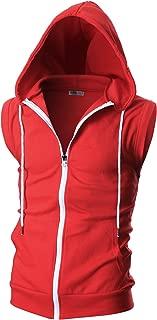 Ohoo Mens Slim Fit Sleeveless Lightweight Zip-up Hooded Vest Zipper Trim
