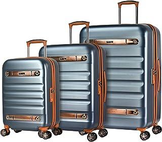 Eminent Gold Set di valigie Nostalgia 3pcs Valigie vintage rigide in policarbonato 4 Ruote doppie 360° Lucchetto TSA Grafite