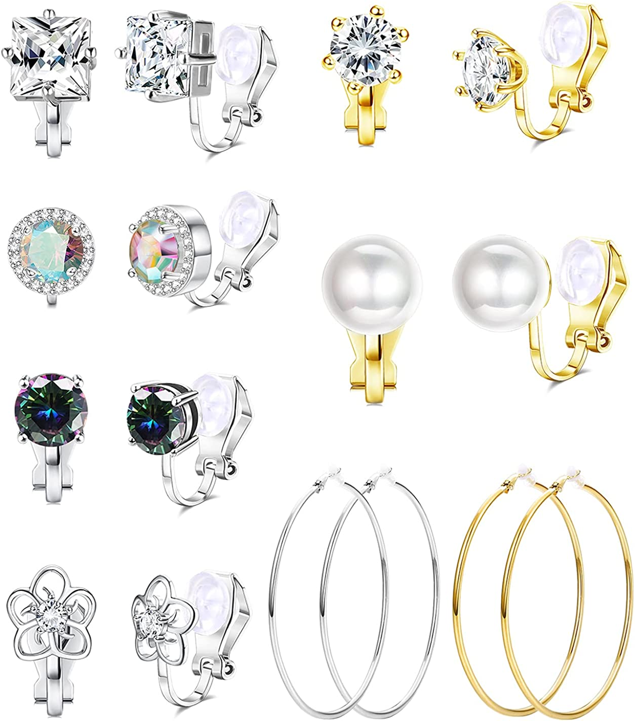 JOERICA 8 Pairs Clip On Earrings for Women Big Hoop Clip-on Earrings Simulated Pearl CZ Cubic Zirconia Non Pierced Clip on Earrings Set
