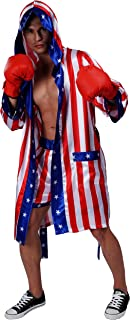 Maxim Party Supplies Adult Satin American Flag Boxing Costume with Robe and Shorts for Men