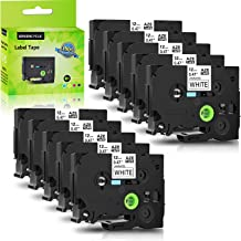 Greencycle 10 PK Compatible for Brother TZ231 TZe231 TZ-231 Label Tape 12mm Black on White Replacement for P-Touch Printers - 12mm Wide 8m Length 1/2