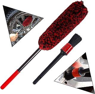 bzczh Car Wheel Brush and Detail Brush Kit - Synthetic Wool Tire Rim Brush,Wheel Woolies, Soft, Dense Fibres, Wheel Detail...