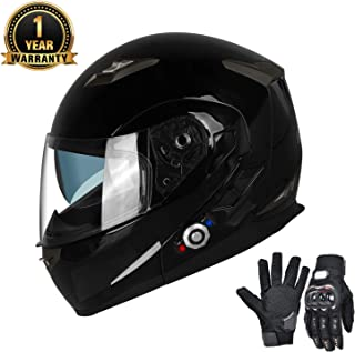 Bluetooth Motorcycle Helmets FreedConn Full Face Integrated Modular Flip up Dual Lens Helmet With 500M FM Radio GPS Intercom Headset Communication (DOT approved,Gloss Black, X Large)